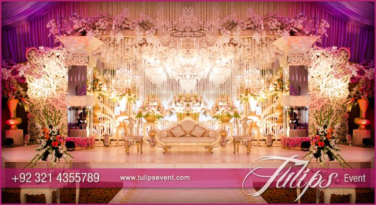 Creative Wedding Decoration Style in Pakistan with Crystal beats, exotic flower arrangements. Plum and white ambiance feeling. #tulipsevent #plumweddings #pakistaniweddingideas #creativeweddings #weddingdecor  Design and Arranged by: www.tulipsevent.com