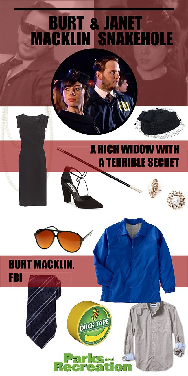 Parks and Recreation couple costume - Burt Macklin & Janet Snakehole