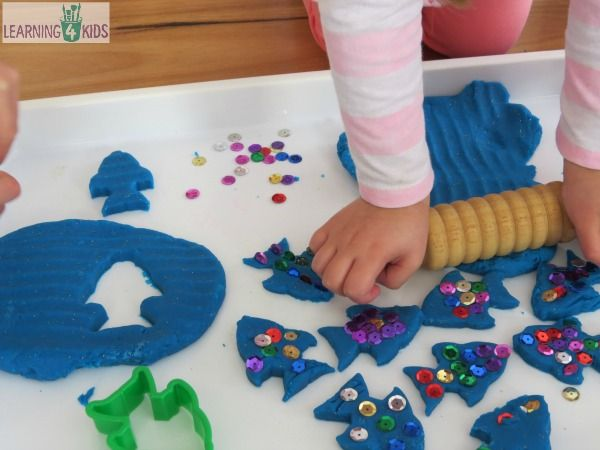 The Rainbow Fish Inspired play dough activity