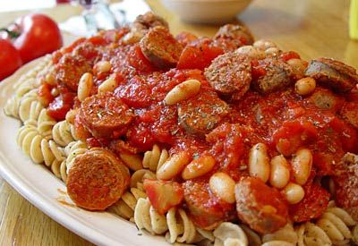 Rotini with Italian Sausage and Cannellini Beans