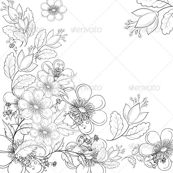 Flower Frame Line Drawing : Flower outline drawings nice drawing
