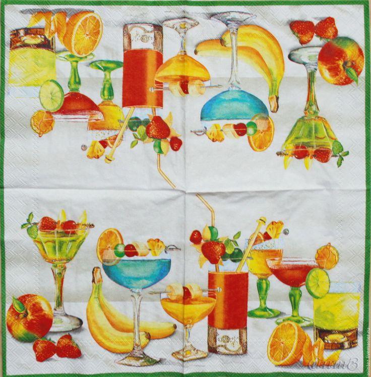 Купить салфетки декупажные бар еда фрукты мартини принт салфетка для декупажа - салфетки, Декупаж