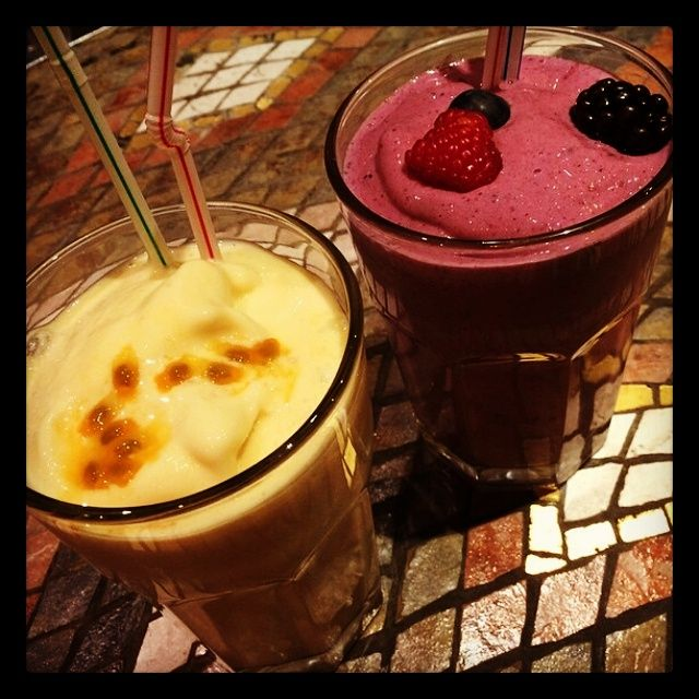 Two of our most popular smoothies: #TropicalChaCha & #VeryBerry #worldsbestsmoothie
