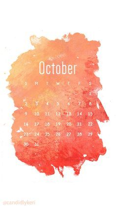 Watercolor red orange October calendar 2016 wallpaper you can download for free on the blog! For any device; mobile, desktop, iphone, android!