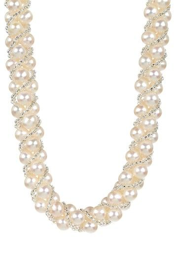 White Freshwater Pearl & Clear Bead Woven Necklace, #Hautelook