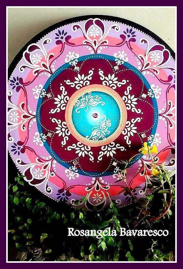 Mandala em MDF, 50cm, acrílica, pintada a mão! Arte de Rosangela Bavaresco