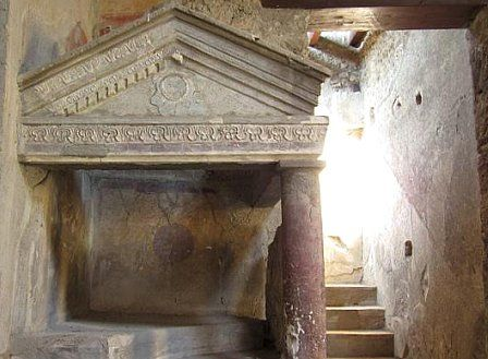 *POMPEII, ITALY ~ House of Menander: Immediately east of the fauces is a small room (d) entered by way of a narrow doorway in its south wall. The room, plainly decorated with a layer of coarse plaster, is of indeterminate use, perhaps a small cubiculum but more likely a storeroom. The room was lit by a narrow window high on its north wall.