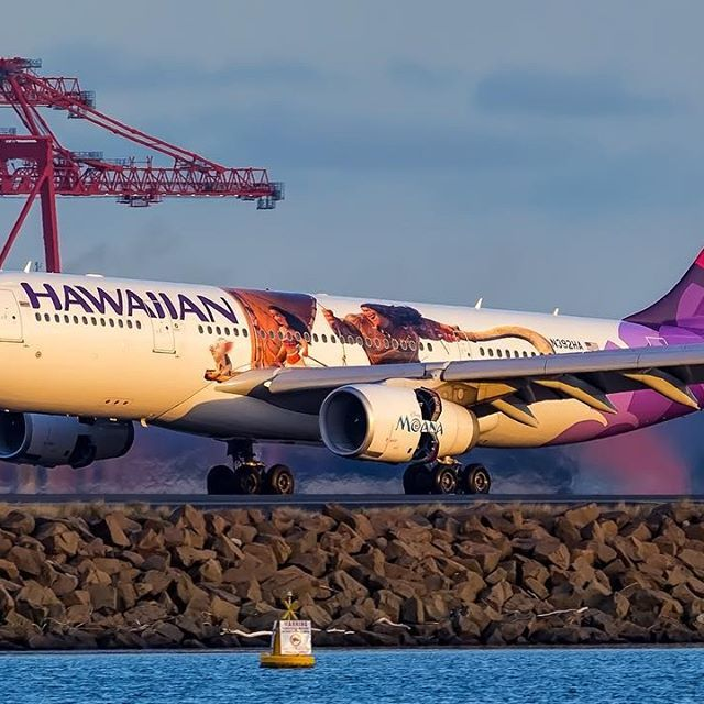 @hawaiianairlines HA451 N392HA wearing the @disney 'Moana' livery touching down 34L @sydneyairport (SYD/YSSY) from Honolulu... The absolute LAST seconds of light, as the next frame was not as nice!! #hawaiianairlines #ha #airbus #a332 #soaringwithdisneymoana #moana #planespotting #megaplane #instagramaviation #airbuslovers #sydneyairport #syd #yssy #avporn #avgeek #aviation #aussiepomm