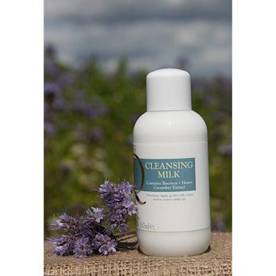 Cleansing Milk 250ml - A gentle, smooth cleansing milk containing beeswax, honey and extract of cucumber. 250ml bottle with screw top lid. Not Tested on animals, Lanolin Free. Made and packaged in England