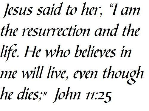 """Jesus said to her, """"I am the resurrection and the life. He who believes in me will live, even though he dies;"""" John 11:25 - Wall and home scripture, lettering, quotes, images, stickers, decals, art, and more!, http://www.amazon.com/dp/B00DBLXZ7K/ref=cm_sw_r_pi_awdm_3lAivb17GVTK8"""