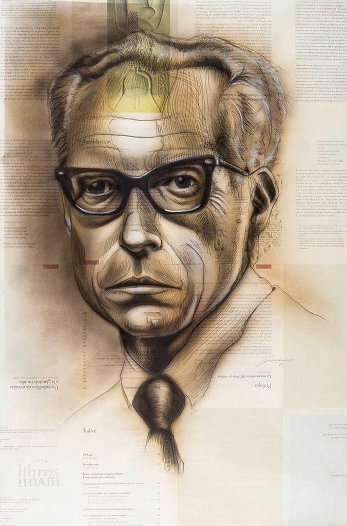 #Retrato de Leopoldo García Colín por Cristian Isai Correa Silva. Técnica mixta. Mención. #AutoresUNAM #UNAM