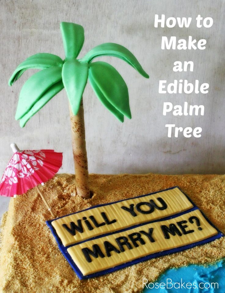 How to make an edible palm tree palm cake and cake tutorial for How to make edible cake decorations at home