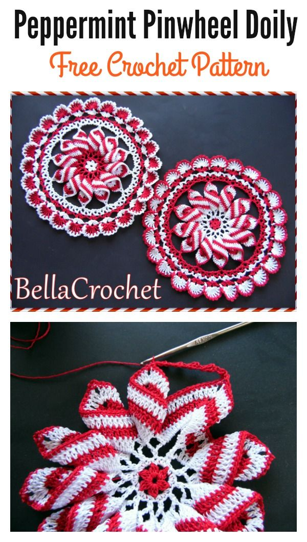 Peppermint Pinwheel Doily Free Crochet Pattern #Freepattern #Crochet