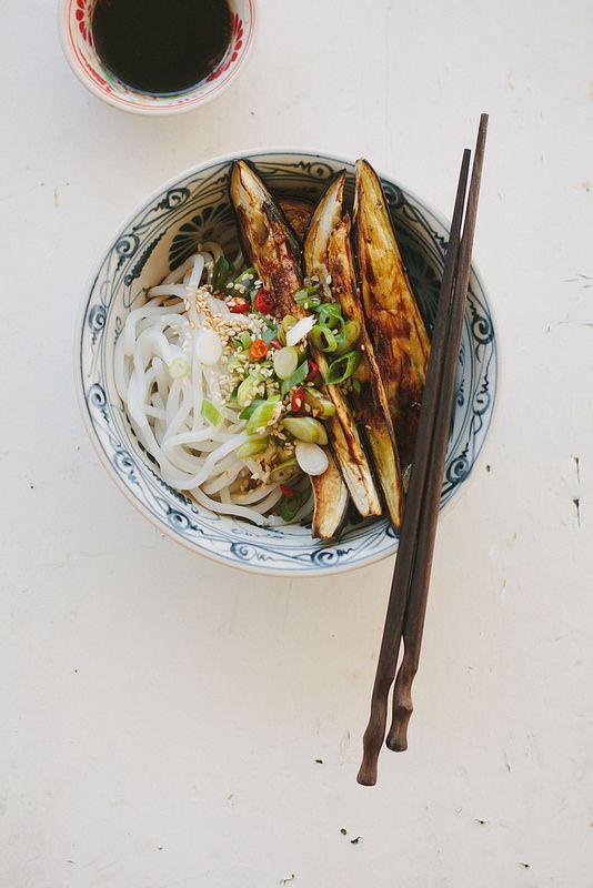 Roasted eggplant + noodles with Chinese black vinegar dressing (gluten-free + vegan)