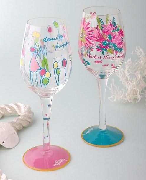 Lilly Pulitzer Hand Painted Wine Glass
