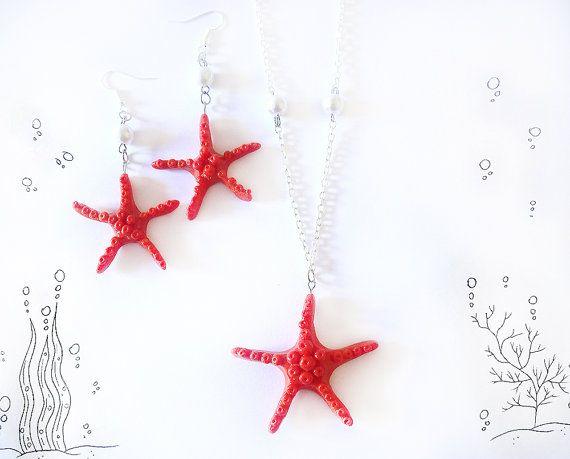 Stella marina rossa collana e orecchini parure in porcellana, donna ragazza estate mare spiaggia corallo idea regalo mamma moglie vacanza