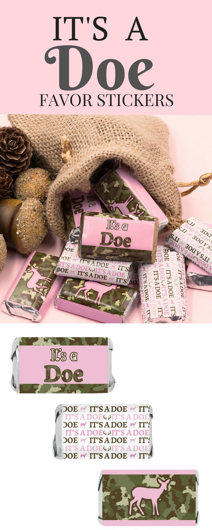 Celebrate the Little Doe Girl on the way with these decorative camo and pink baby shower stickers.