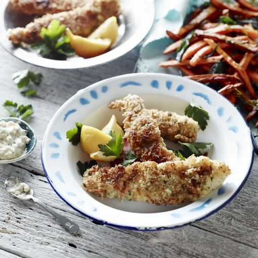 Macadamia crumbed fish/chicken with sweet potato chips & perinaise #pete evans
