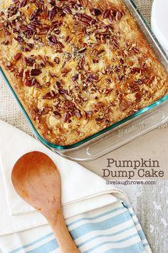 Yellow cake mix, pumpkin, butter and pecans are the ingredients that make this Pumpkin Dump Cake a favorite — and ready under an hour! Ingredients: 29 oz can pumpkin, 1 cup sugar, 1 can evaporated milk, 3 eggs, 4 tsp. pumpkin pie spice, 3/4 cup melted butter, 1 box yellow cake mix, 1/2 tsp salt, 1 cup pecans, chopped