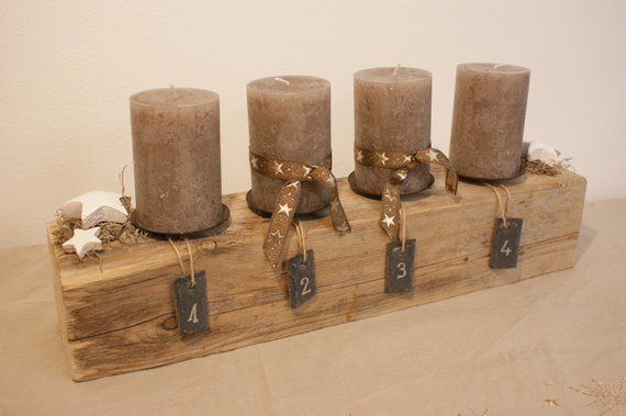 Advent Bar Large with Deco & candle wood look/Advent Wreath