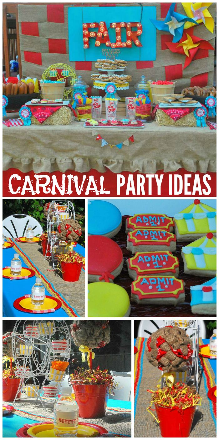 A red, turquoise, and yellow county fair carnival party with games and carnival foods!  See more party planning ideas at CatchMyParty.com!