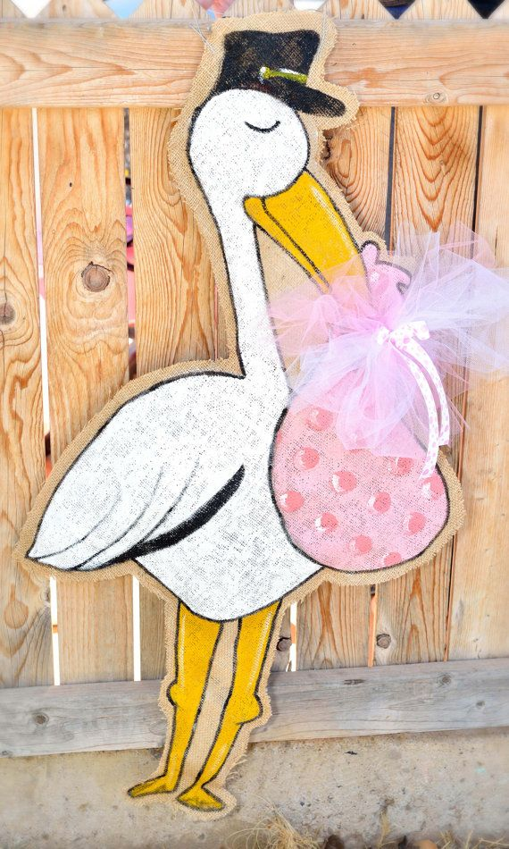 Stork Burlap Door Hanger by stackhouseLA on Etsy, $37.00