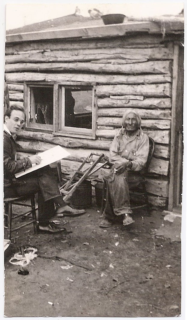 """David Humphreys Miller sketching """"One Bull"""" Sitting Bull's Adoptive Son. Sitting Bull adopted """"One Bull at the Age of Three after one of his son's died"""""""