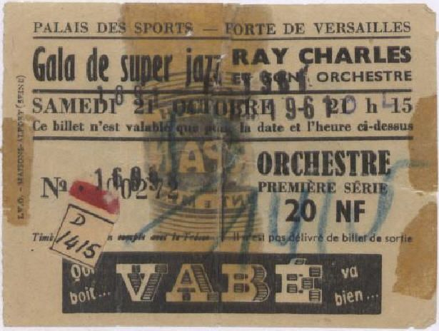 Ticket for Ray Charles' evening show at the Palais des Sports in Paris on October 21st, 1961. Coll. Jacques Merle.