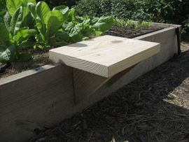 Moveable seat for raised beds.