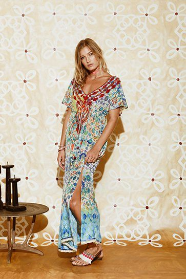 Ruby Yaya | Globetrotter Spring 2017 Printed silk dress in bold colours. #Bohemian #tribal #prints & patterns #party dress #beachstyle #relaxed