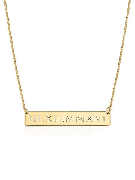 The bar necklace is a classic and staple style for your wardrobe so why not add a sentimental touch to it? Relive a special date, anniversary, or birthdate with this roman numeral engraved bar necklace. Pinterest: @oliveandpiper