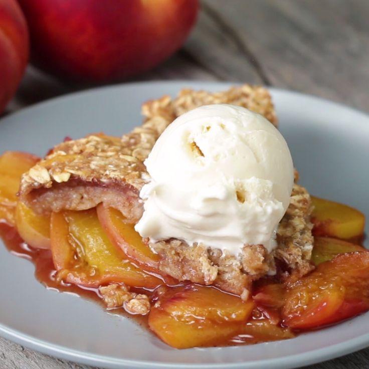 Healthier Skillet Peach Crisp