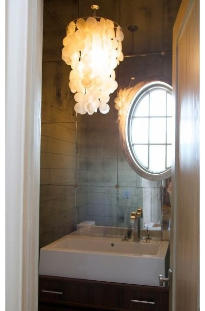 .antique mirror tiles: Decor Ideas, Small Bathroom, Antiques Mirror, Mirror Wall, Mirror Tile, Tile Bathroom, Lights Fixture, Powder Rooms, Traceri Interiors