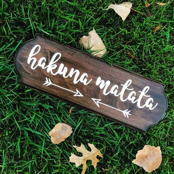 Hakuna Matata, wood sign, ready to hang, handmade, the lion king, mahogany, home decor, disney phrase, it means no worries, gift, christmas