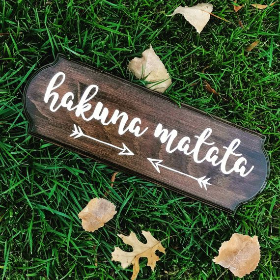 Hakuna Matata, wood sign, ready to hang, handmade, the lion king, mahogany, home decor, disney phrase, it means no worries, gift, christmas
