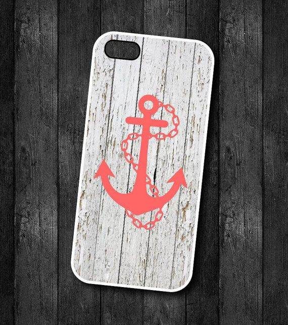 Anchor Cell Phone Case - Coral Anchor on White Wood - Personalize - iPhone case...4, 4s, 5, 5s, 5c, Samsung phone case S3 or S4