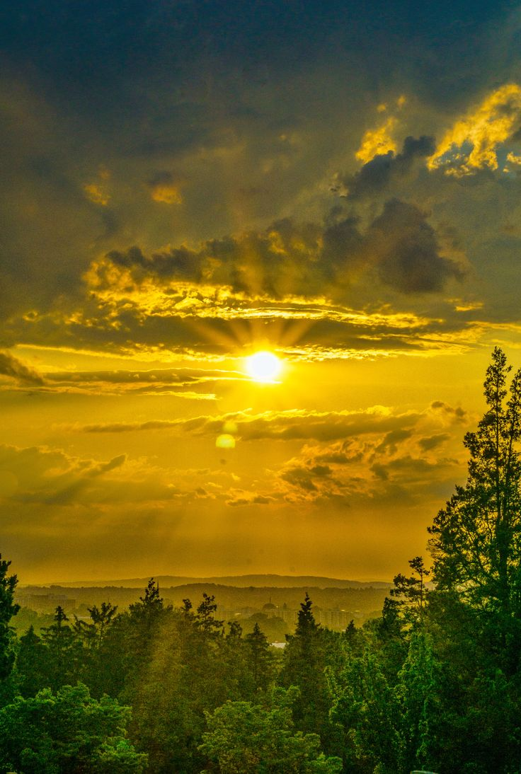 """Raging Dusk"", sunset, sunrise, clouds, sunbeams, beauty of Nature, trees, pines, stunning scenery, beautiful, gorgeous"