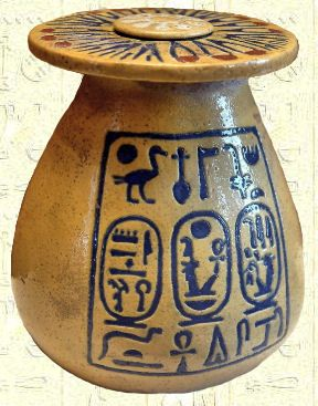 Vase with Amenhotep III and his great wife, Tiye's cartouches.