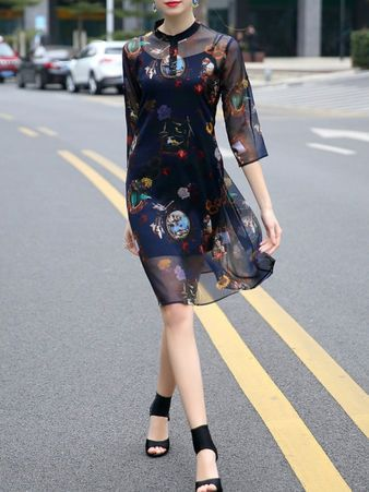 Dark Blue 3/4 Sleeve Floral Midi Dress