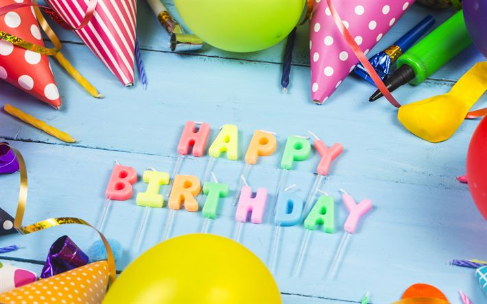 Download wallpapers Happy Birthday, candles, multi-colored inflatable balls, festive decorations, Birthday