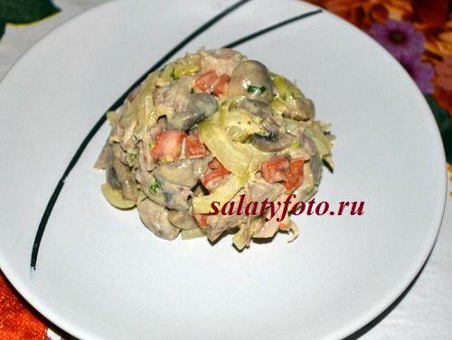 Теплый салат с индейкой и грибами, рецепт с пошаговыми фото приготовления