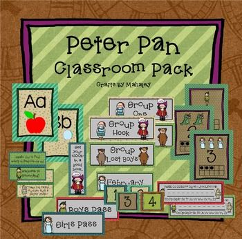 The perfect addition to your Peter Pan classroom! This classroom bundle includes:--3 different Bag Labels (b'day, beginning of school, end of the year)--Binder Pack (covers, prinatables, & school calendar for 2016-17 and 2017-18)--Bookmarks--Calendar Pack (months & number days)--Group Names (2 types)--Hall Passes--Name tags--Seven Habits--ABC posters--Number posters--Numbers 1-100--Word Wall Pack (banner & letters)
