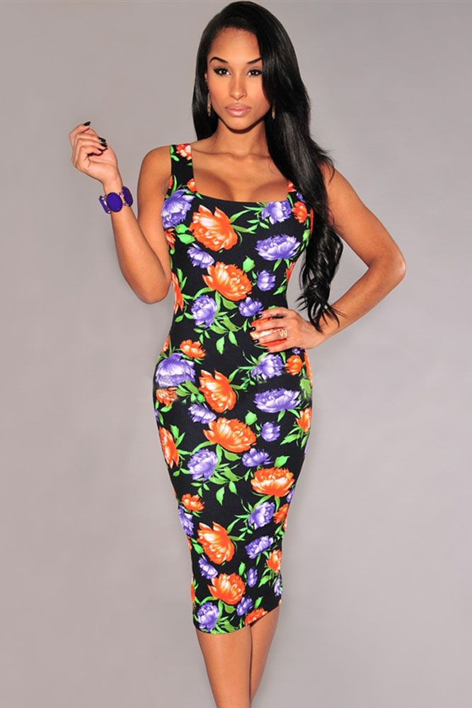 Black Multi-Color Floral Print Midi Dress