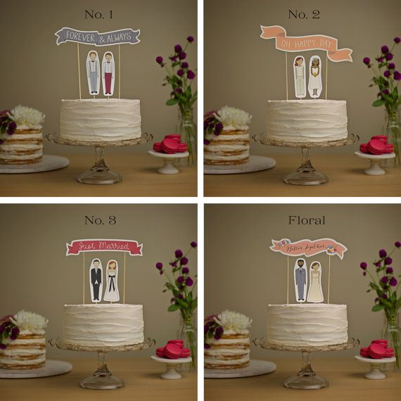 Wedding Cake Topper Set - Common Phrases Banner / Bride and/or Groom Cake Toppers