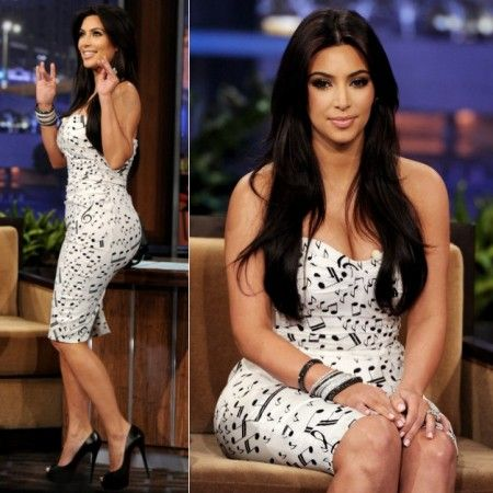 Kim Kardashian musical printed bandage dress Kris and Kim Kardashian did our first ever interview together on The Tonight Show with Jay Leno. Kim Kardashian wore a Musical Note Strapless Dress.