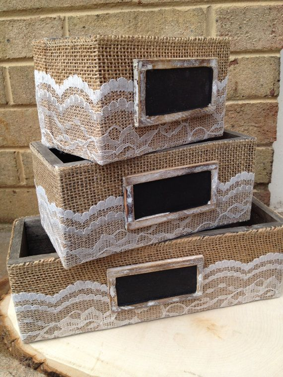 SET of 3 Burlap and Lace Wrapped Boxes