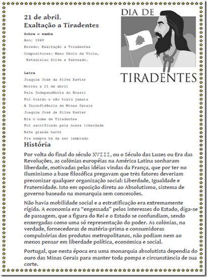 Tiradentes - Inconfidência Mineira - 21 de abril     Atividades - Desenhos - Exercícios                           Exercícios sobre Tiraden...