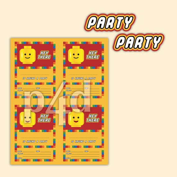 Building Brick Party  Invite  Printable PDF by paper4download