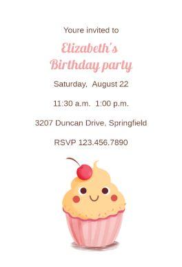 Cupcake Smile - Printable Birthday Invitation Template