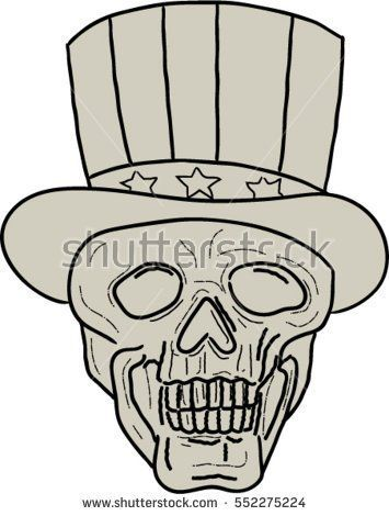 Drawing sketch style illustration of a skull of uncle sam wearing top hat viewed from front set on isolated white background.  #unclesam #sketch #illustration